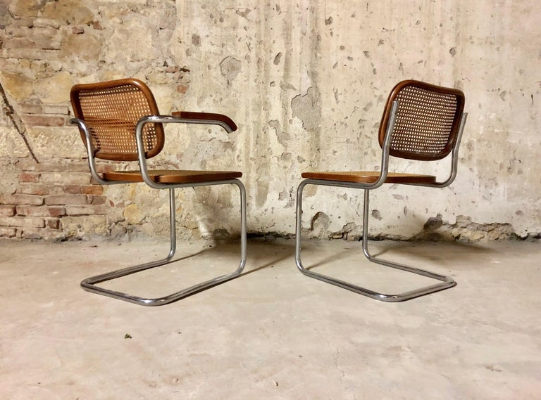 Marcel Breuer Bauhaus B32 Cesca Dining Room Chairs for Knoll, 1970s, Set of 8 In Good Condition For Sale In Lonigo, IT