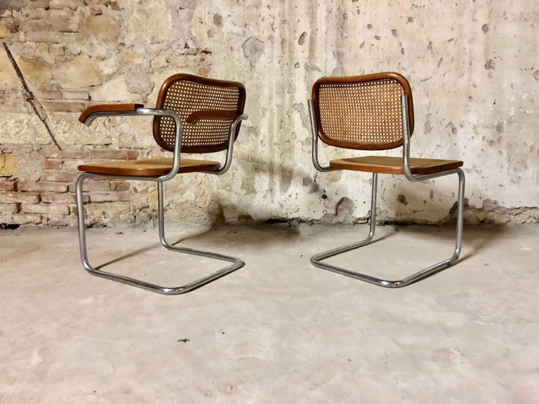 Late 20th Century Marcel Breuer Bauhaus B32 Cesca Dining Room Chairs for Knoll, 1970s, Set of 8 For Sale