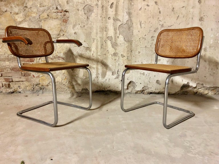 Straw Marcel Breuer Bauhaus B32 Cesca Dining Room Chairs for Knoll, 1970s, Set of 8 For Sale