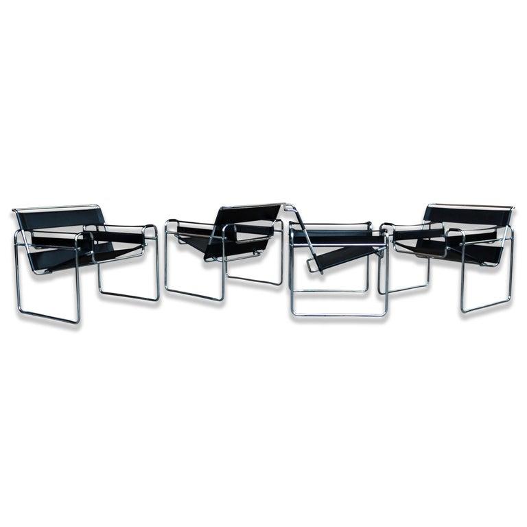 Italian Marcel Breuer Bauhaus Black Leather
