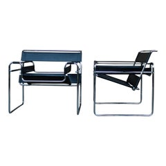"Marcel Breuer Bauhaus Black Leather ""Wassily"" Lounge Armchairs, 1972, Set of 2"