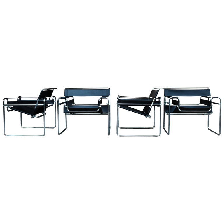 """Marcel Breuer Bauhaus Black Leather """"Wassily"""" Dining Armchairs, 1972, Set of 4 For Sale"""