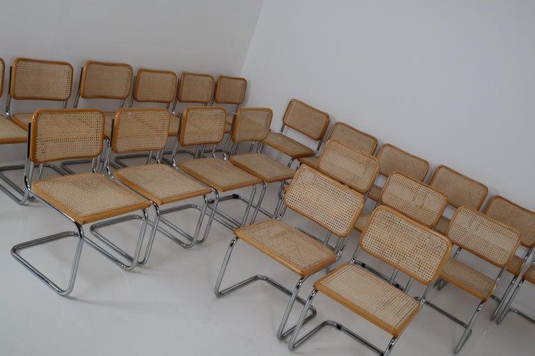 Marcel Breuer Bauhaus Cesca Dining Room Chairs, 1970s, Set of 24 4