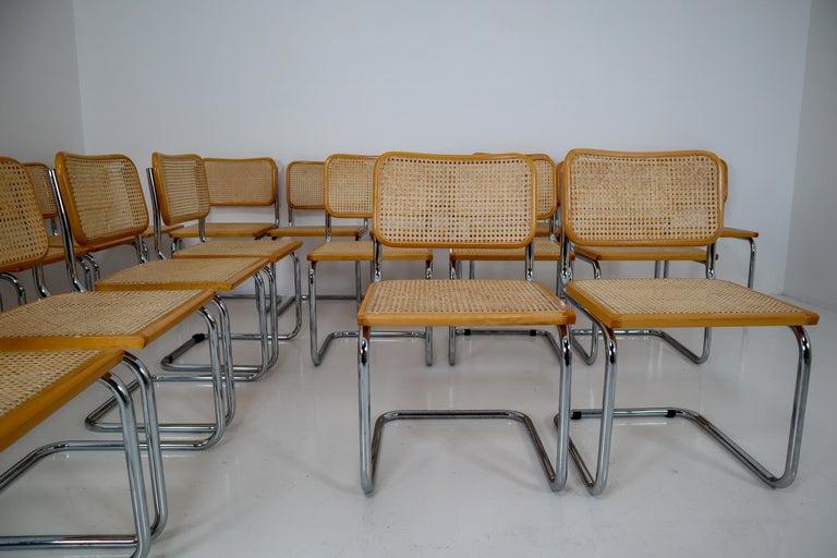 Marcel Breuer Bauhaus Cesca Dining Room Chairs, 1970s, Set of 24 7