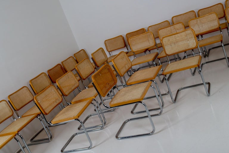 Marcel Breuer Bauhaus Cesca Dining Room Chairs, 1970s, Set of 24 2