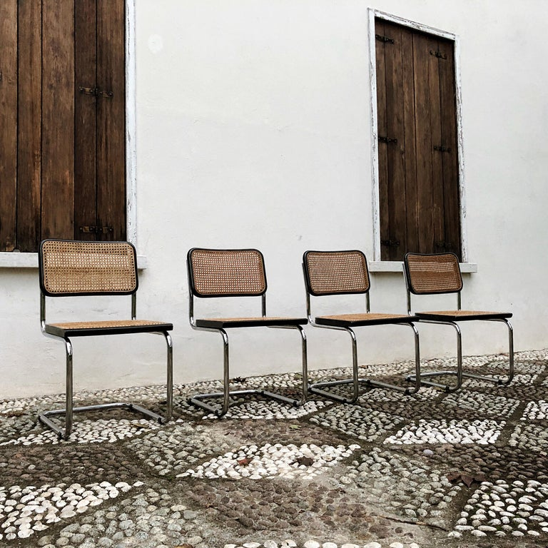 Marcel Breuer Bauhaus Wien Straw B32 Cesca Dining Room Chairs, 1970s, Set of 4 For Sale 5