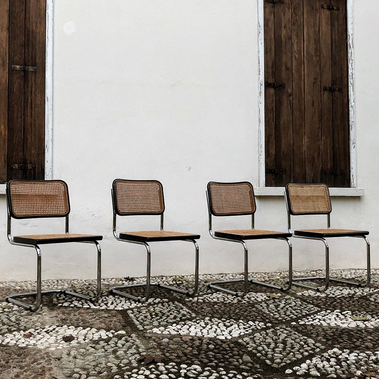 Marcel Breuer Bauhaus Wien Straw B32 Cesca Dining Room Chairs, 1970s, Set of 4 For Sale 6