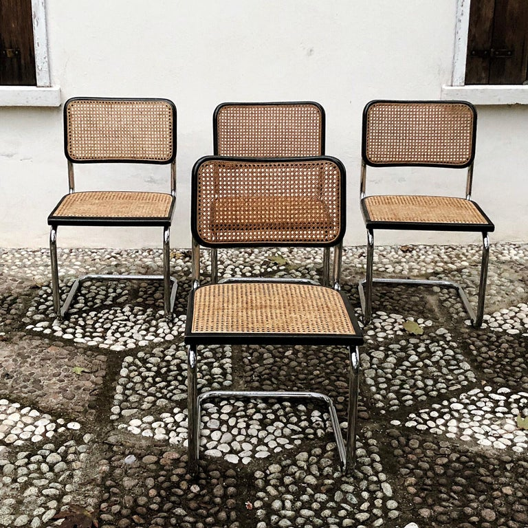 Marcel Breuer Bauhaus Wien Straw B32 Cesca Dining Room Chairs, 1970s, Set of 4 For Sale 7
