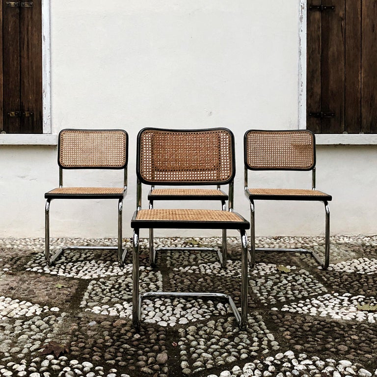 Marcel Breuer Bauhaus Wien Straw B32 Cesca Dining Room Chairs, 1970s, Set of 4 For Sale 8