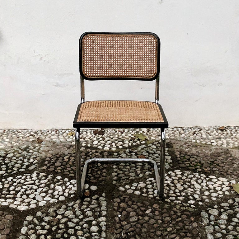 Marcel Breuer Bauhaus Wien Straw B32 Cesca Dining Room Chairs, 1970s, Set of 4 For Sale 10