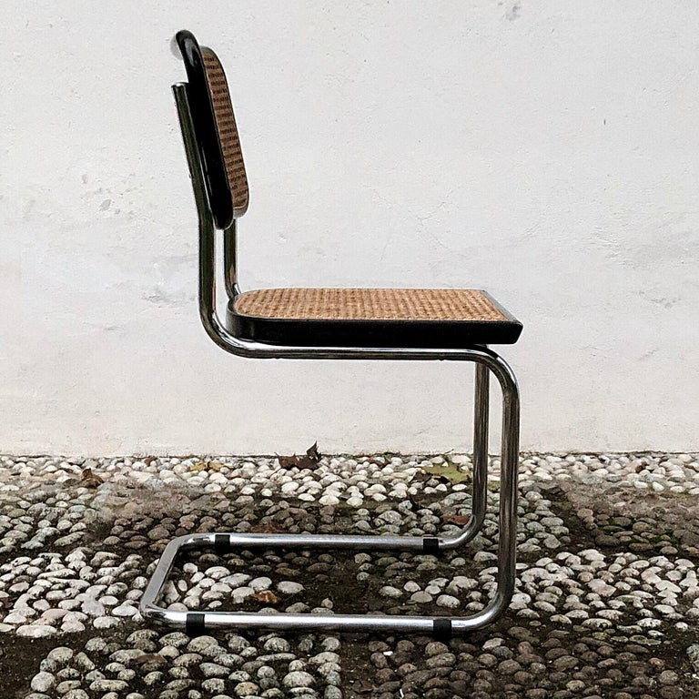Marcel Breuer Bauhaus Wien Straw B32 Cesca Dining Room Chairs, 1970s, Set of 4 For Sale 11