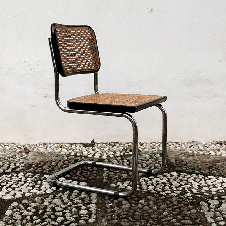 Marcel Breuer Bauhaus Wien Straw B32 Cesca Dining Room Chairs, 1970s, Set of 4 For Sale 13