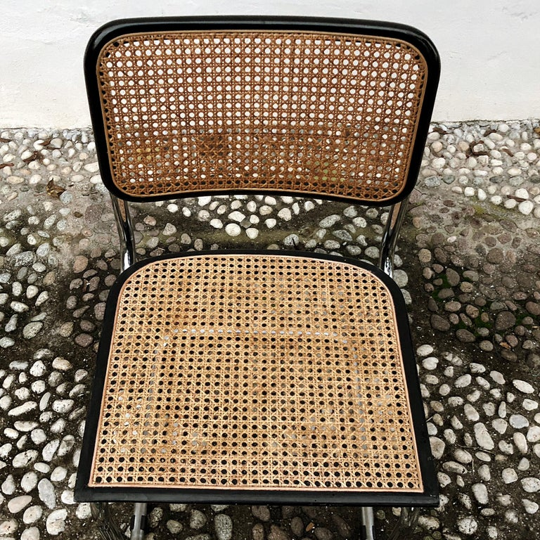 Marcel Breuer Bauhaus Wien Straw B32 Cesca Dining Room Chairs, 1970s, Set of 4 For Sale 14
