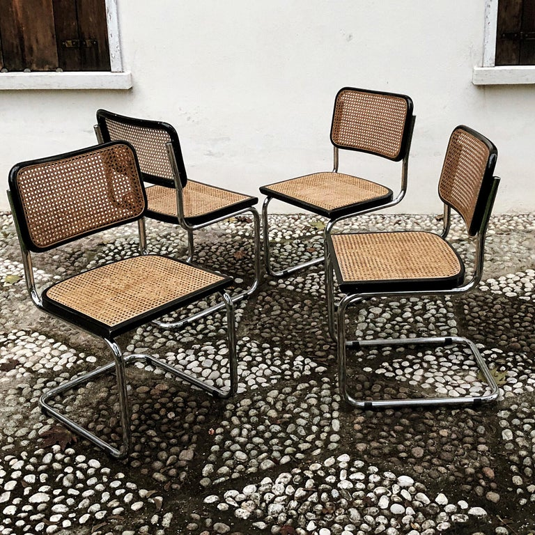 """Beautiful set of 4 original B32 """"Cesca"""" dining chairs. Cesca chairs were originally designed in 1928 by French Hungarian architect Marcel Breuer and named after his daughter Francesca.   Modernist, architect and furniture designer, Marcel Breuer,"""