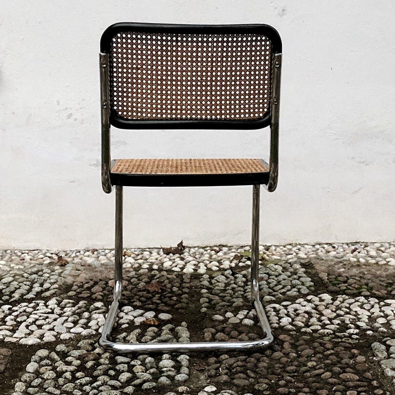 Marcel Breuer Bauhaus Wien Straw B32 Cesca Dining Room Chairs, 1970s, Set of 4 For Sale 15