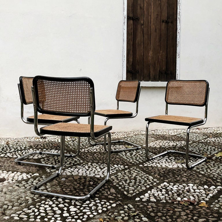 Italian Marcel Breuer Bauhaus Wien Straw B32 Cesca Dining Room Chairs, 1970s, Set of 4 For Sale