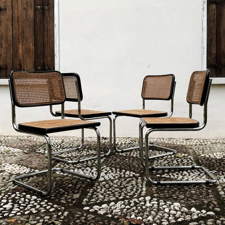 Marcel Breuer Bauhaus Wien Straw B32 Cesca Dining Room Chairs, 1970s, Set of 4 In Good Condition For Sale In Padova, IT