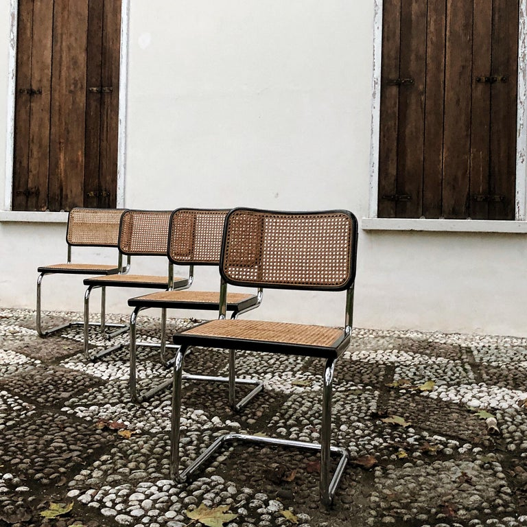Late 20th Century Marcel Breuer Bauhaus Wien Straw B32 Cesca Dining Room Chairs, 1970s, Set of 4 For Sale