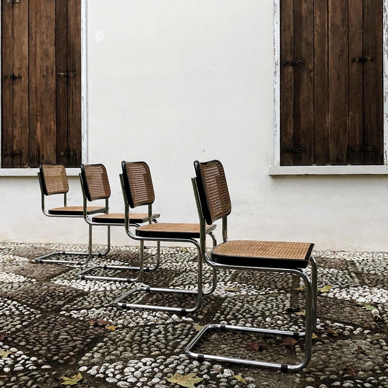 Marcel Breuer Bauhaus Wien Straw B32 Cesca Dining Room Chairs, 1970s, Set of 4 For Sale 1