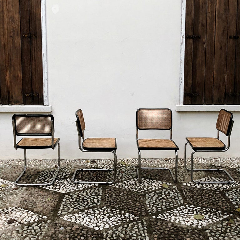 Marcel Breuer Bauhaus Wien Straw B32 Cesca Dining Room Chairs, 1970s, Set of 4 For Sale 2