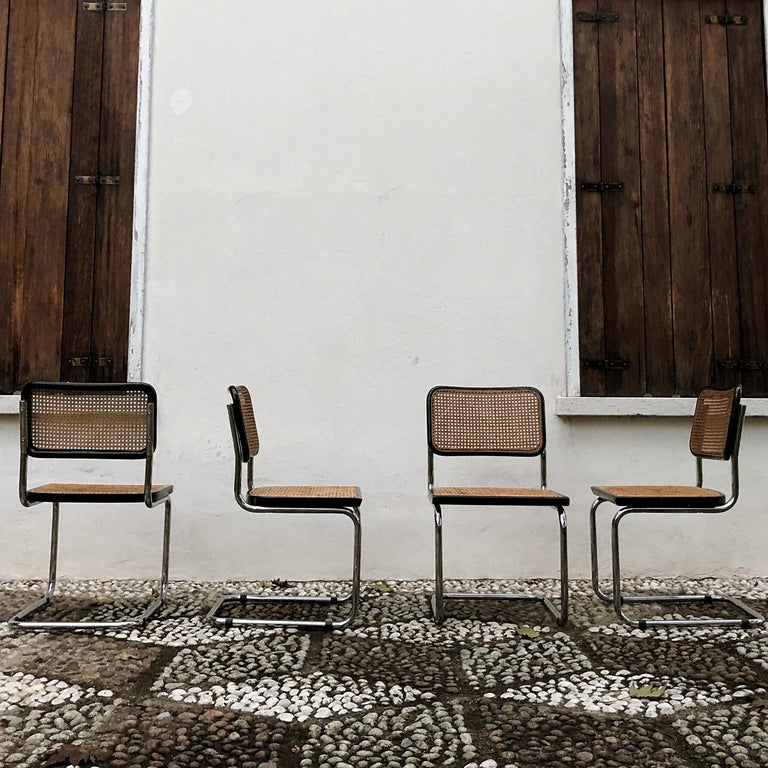 Marcel Breuer Bauhaus Wien Straw B32 Cesca Dining Room Chairs, 1970s, Set of 4 For Sale 3