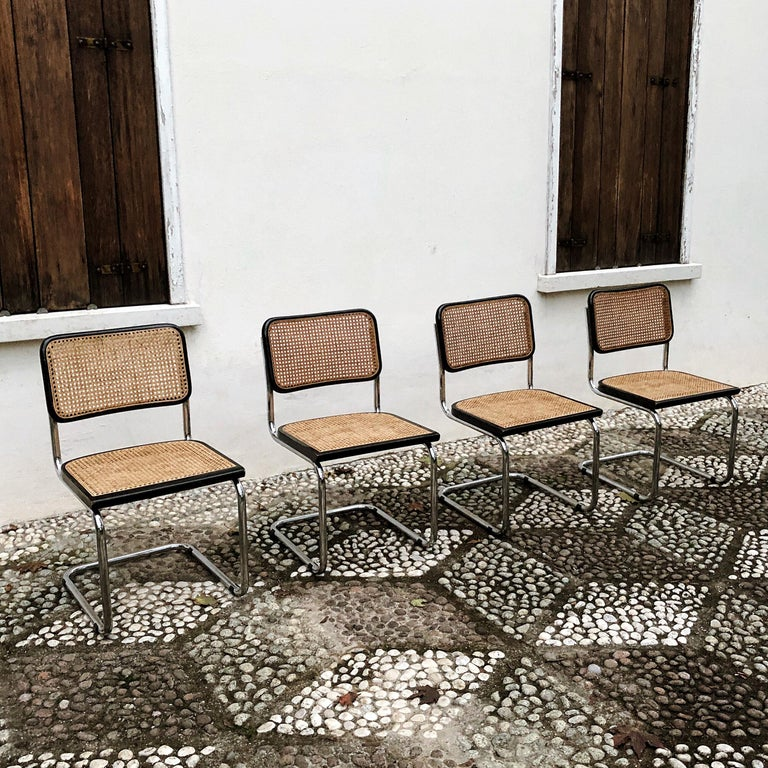 Marcel Breuer Bauhaus Wien Straw B32 Cesca Dining Room Chairs, 1970s, Set of 4 For Sale 4