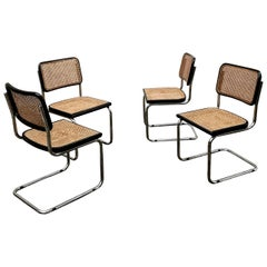 Marcel Breuer Bauhaus Wien Straw B32 Cesca Dining Room Chairs, 1970s, Set of 4