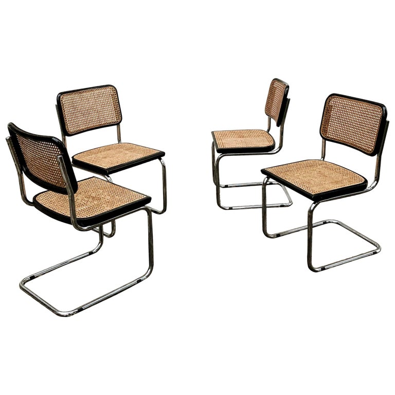 Marcel Breuer Bauhaus Wien Straw B32 Cesca Dining Room Chairs, 1970s, Set of 4 For Sale
