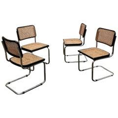 Marcel Breuer Bauhaus Wien Straw B32 Cesca Dining Room Chairs, 1970s, Set of 4