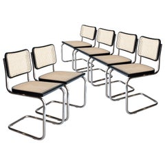 Marcel Breuer Cesca B-32 Chromed Black Wood Webbing Set of 6 Chairs, Italy, 1960