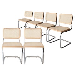 Marcel Breuer Cesca B-32 Chromed Wood Webbing Set of 6 Chairs, Italy, 1960