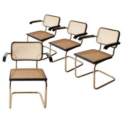 Marcel Breuer Cesca B-64 Brass Black Wood Webbing Set of 4 Chairs, Italy, 1960