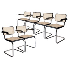 Marcel Breuer Cesca B-64 Chromed Black Wood Webbing Set of 6 Chairs, Italy, 1960