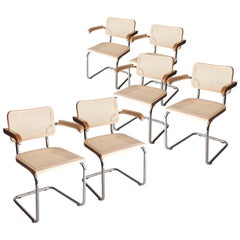 Marcel Breuer Cesca B-64 Chromed Wood Webbing Set of 6 Chairs, Italy, 1960