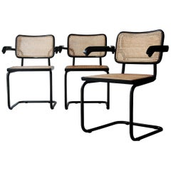 Marcel Breuer Cesca B64 Model Chairs Lacquered in Black, Italy, 1962