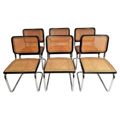 Marcel Breuer Cesca Black Side Chairs Midcentury Set of 6