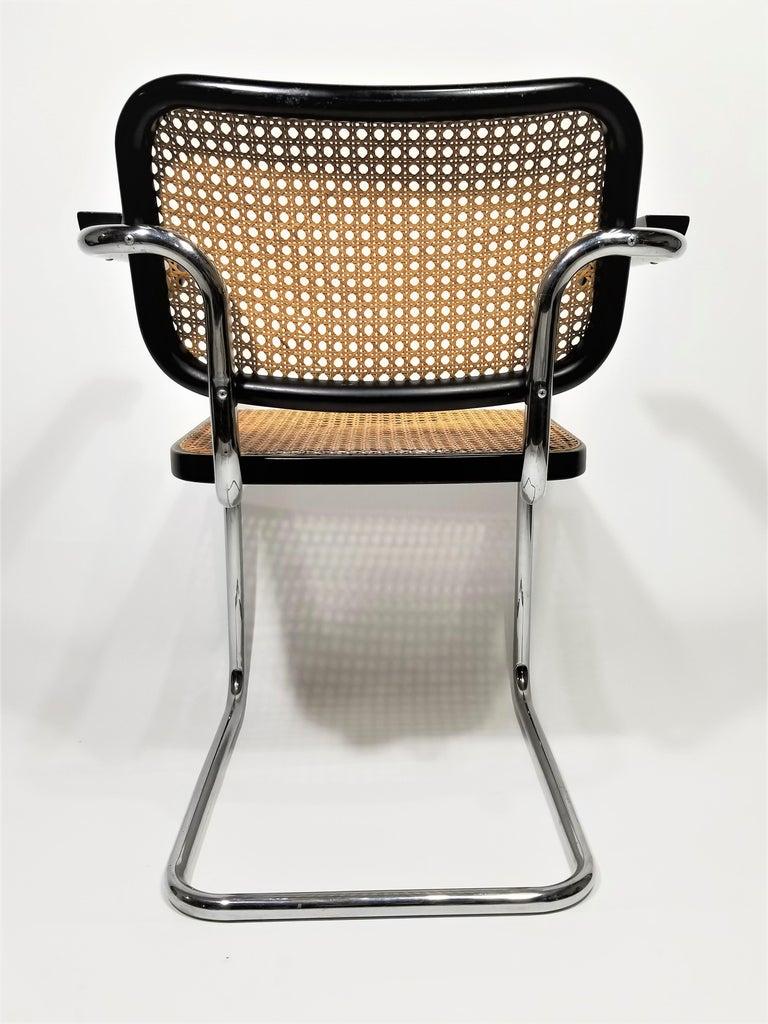 Marcel Breuer Cesca Black Armchair by Stendig Midcentury 1960s Hand Caned 5