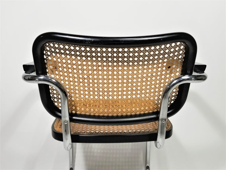 Marcel Breuer Cesca Black Armchair by Stendig Midcentury 1960s Hand Caned 6