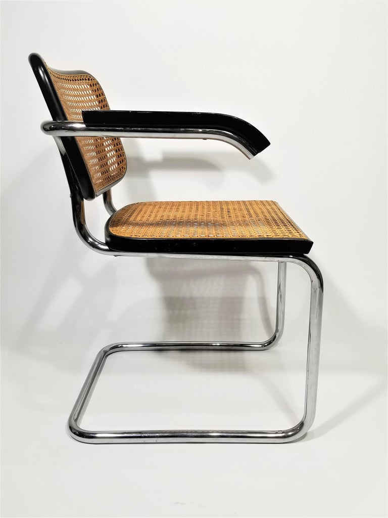Marcel Breuer Cesca Black Armchair by Stendig Midcentury 1960s Hand Caned 7