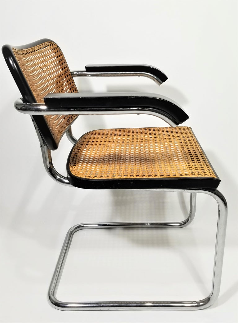 Marcel Breuer Cesca Black Armchair by Stendig Midcentury 1960s Hand Caned 8
