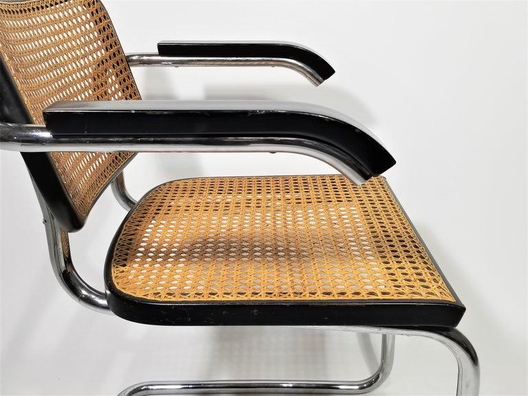 Marcel Breuer Cesca Black Armchair by Stendig Midcentury 1960s Hand Caned 9
