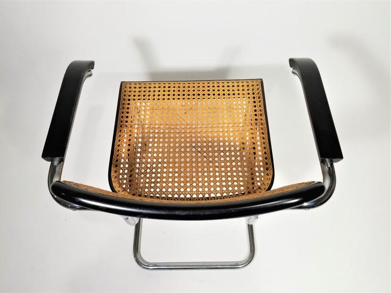 Marcel Breuer Cesca Black Armchair by Stendig Midcentury 1960s Hand Caned 13