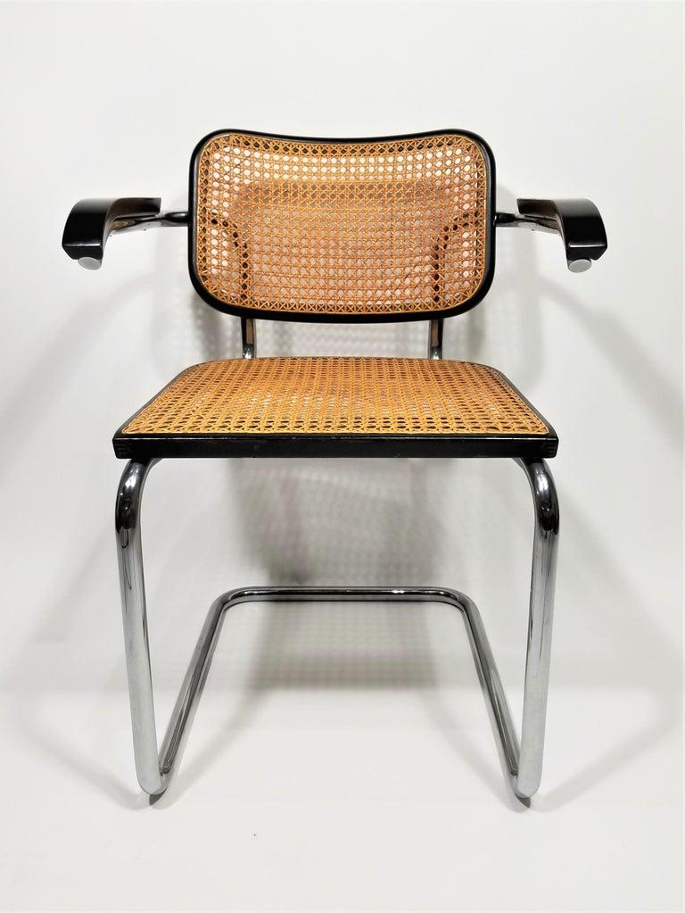 Marcel Breuer Cesca Black Armchair by Stendig Midcentury 1960s Hand Caned 14