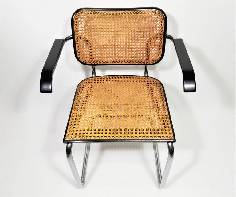 Mid-Century Modern Marcel Breuer Cesca Black Armchair by Stendig Midcentury 1960s Hand Caned