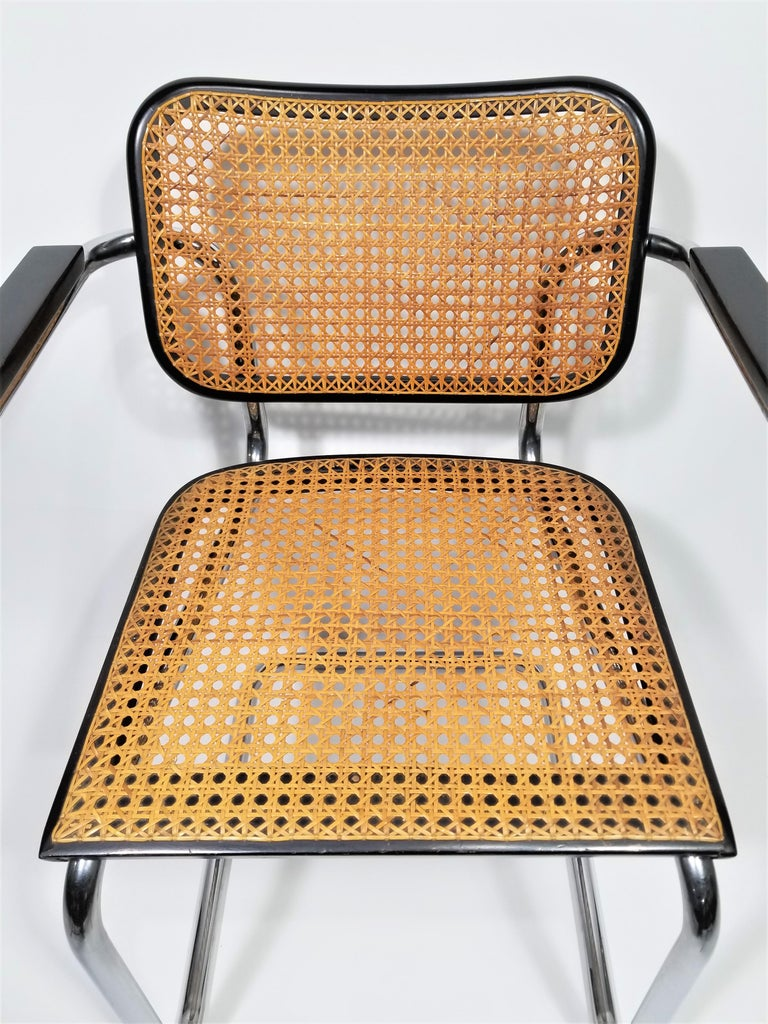 Marcel Breuer Cesca Black Armchair by Stendig Midcentury 1960s Hand Caned In Good Condition In New York, NY