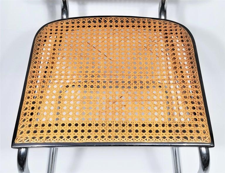 Marcel Breuer Cesca Black Armchair by Stendig Midcentury 1960s Hand Caned 1