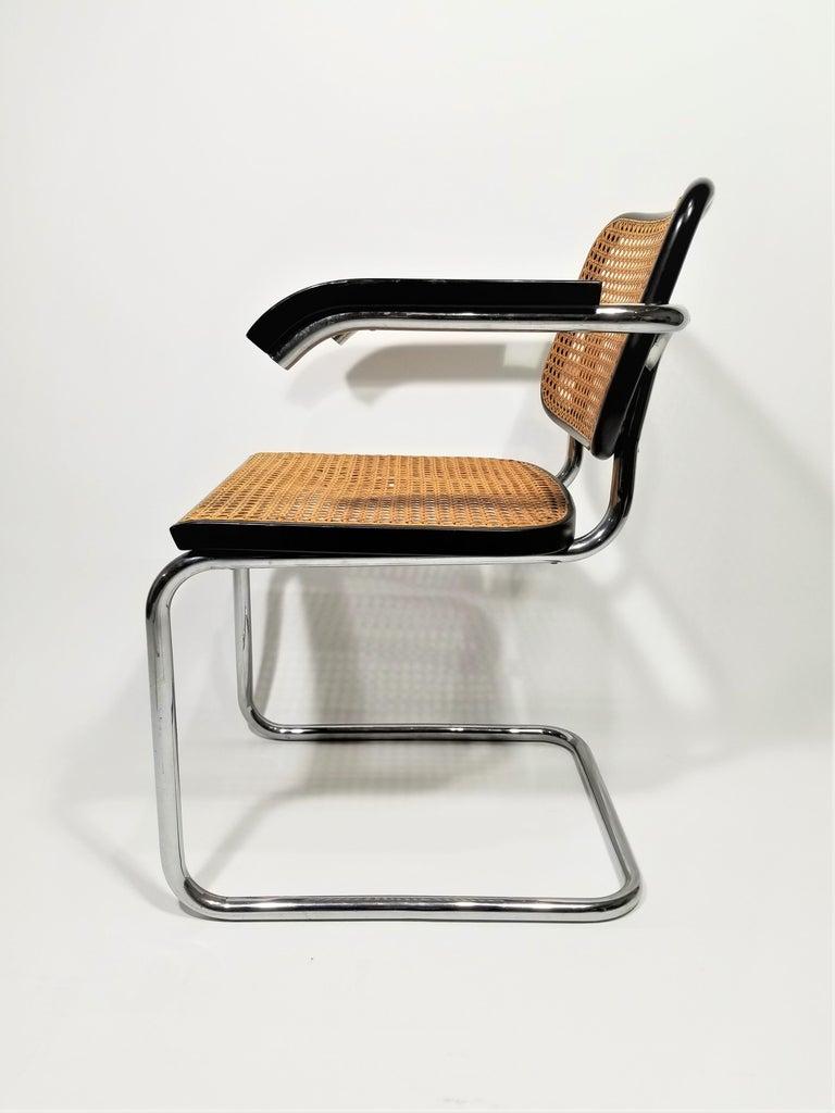 Marcel Breuer Cesca Black Armchair by Stendig Midcentury 1960s Hand Caned 2
