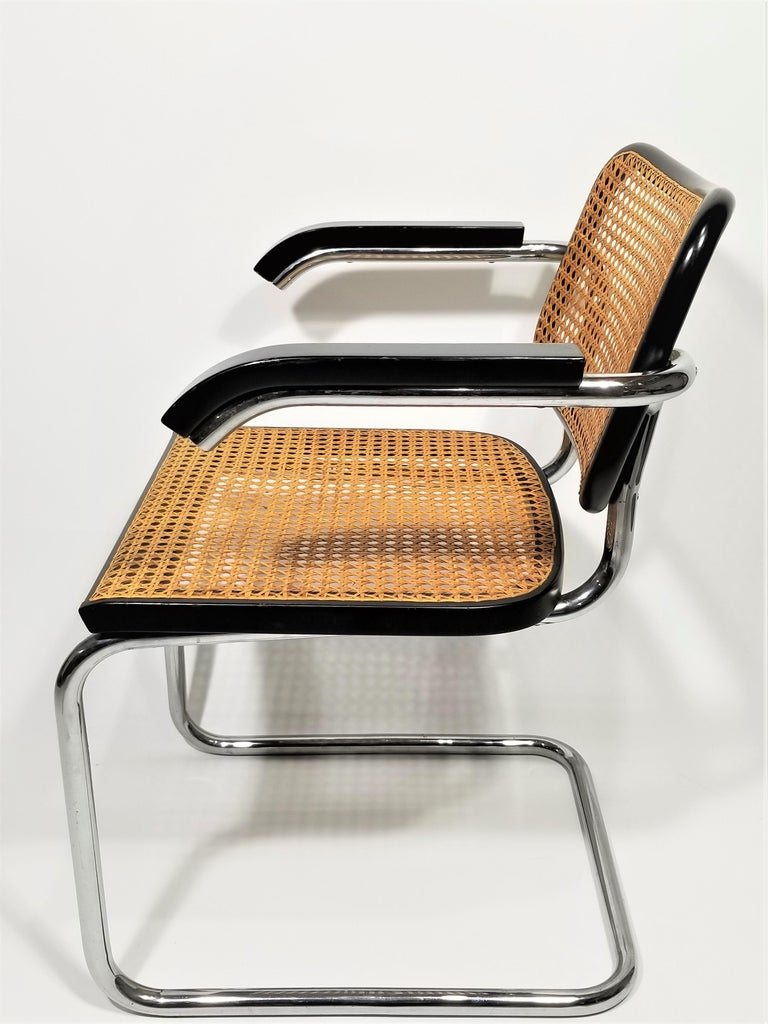 Marcel Breuer Cesca Black Armchair by Stendig Midcentury 1960s Hand Caned 3