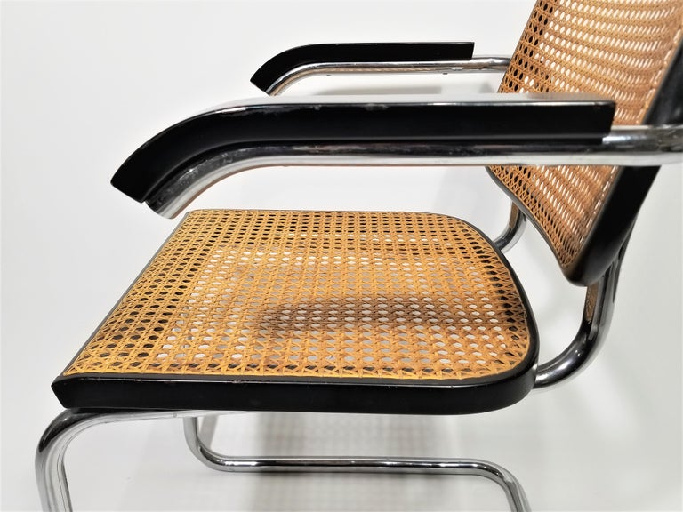 Marcel Breuer Cesca Black Armchair by Stendig Midcentury 1960s Hand Caned 4
