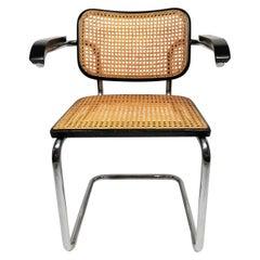 Marcel Breuer Cesca Black Armchair by Stendig Midcentury 1960s Hand Caned
